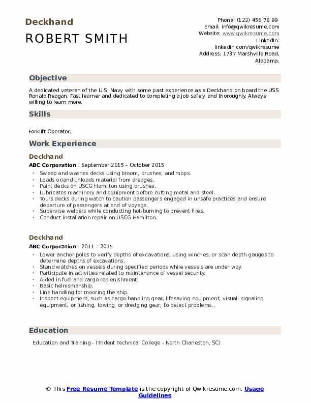 deckhand resume samples