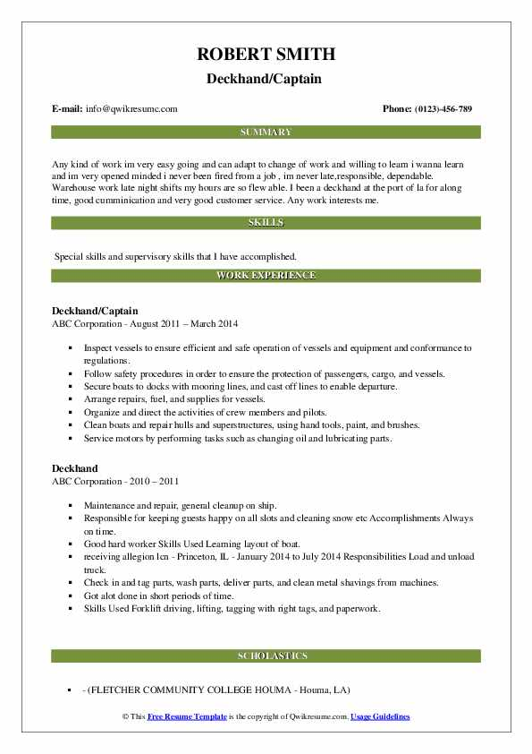 Deckhand/Captain  Resume Example