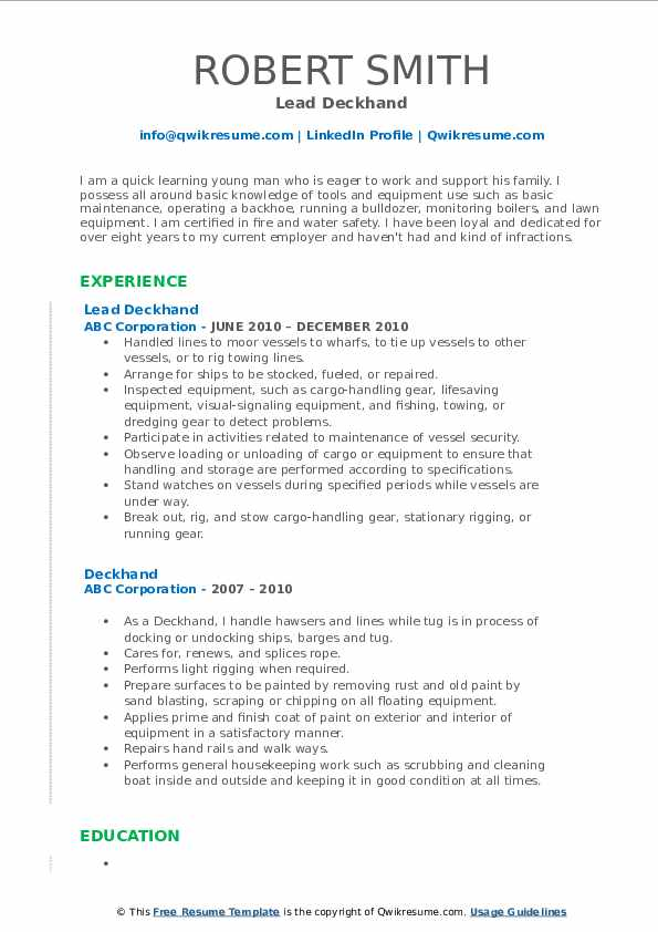 Lead Deckhand Resume Example