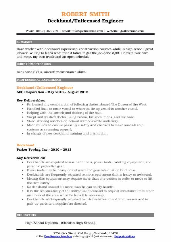 Deckhand/Unlicensed Engineer Resume Sample