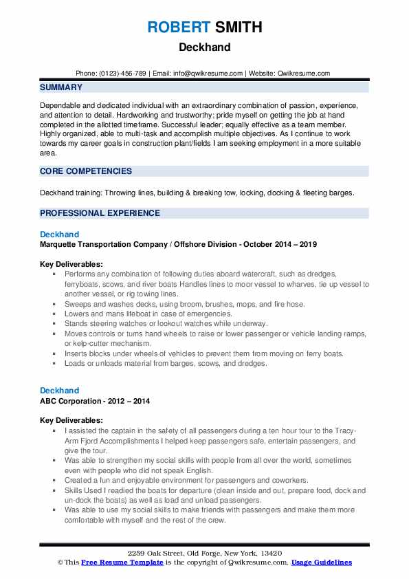 Deckhand Resume example