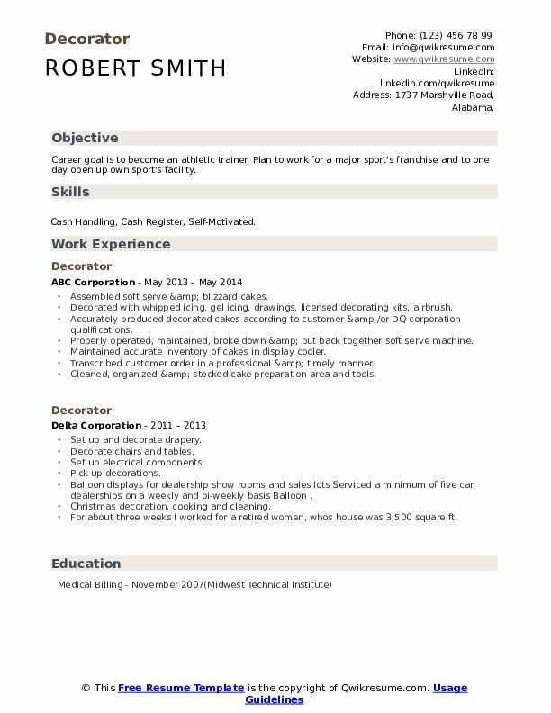 decorator resume samples  qwikresume