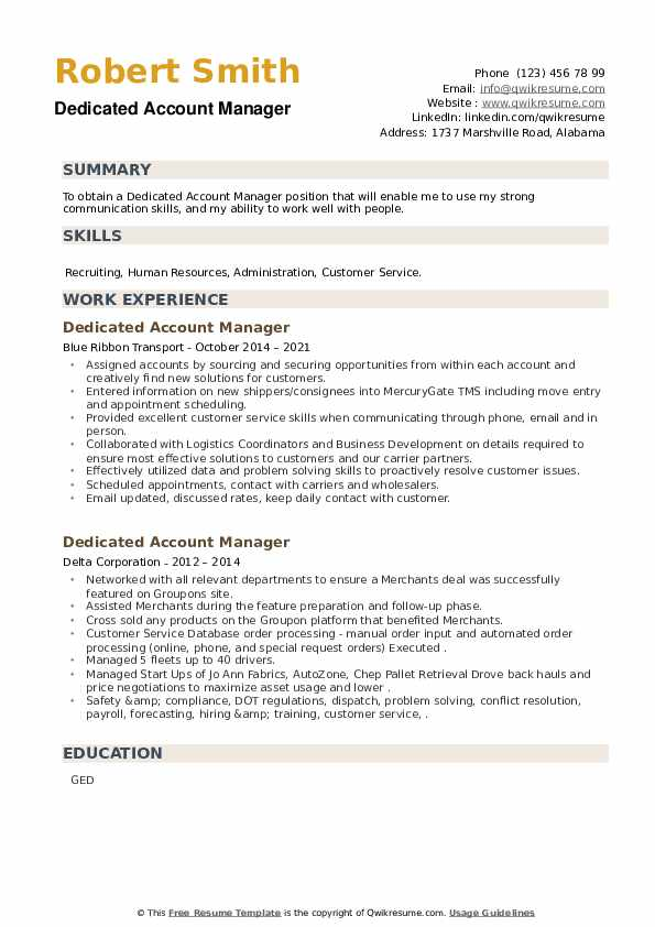 Dedicated Account Manager Resume example