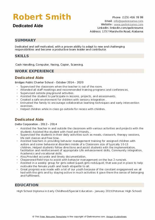 Dedicated Aide Resume example