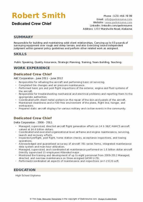 Dedicated Crew Chief Resume example