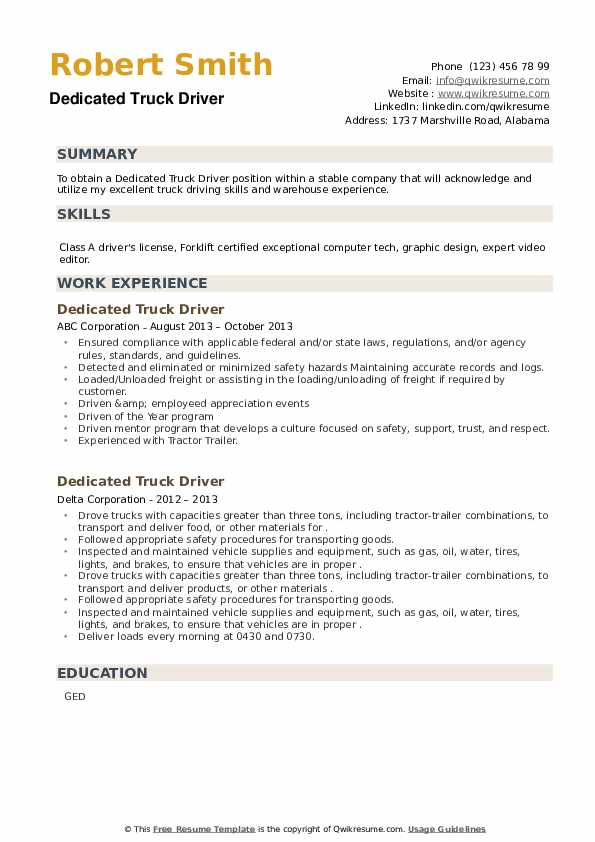 Dedicated Truck Driver Resume example
