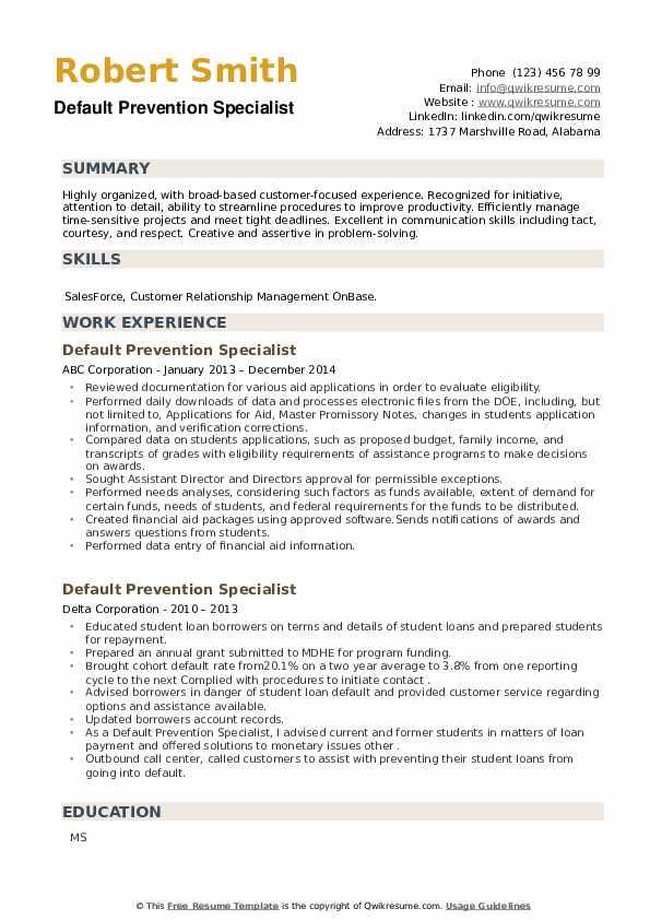Default Prevention Specialist Resume example