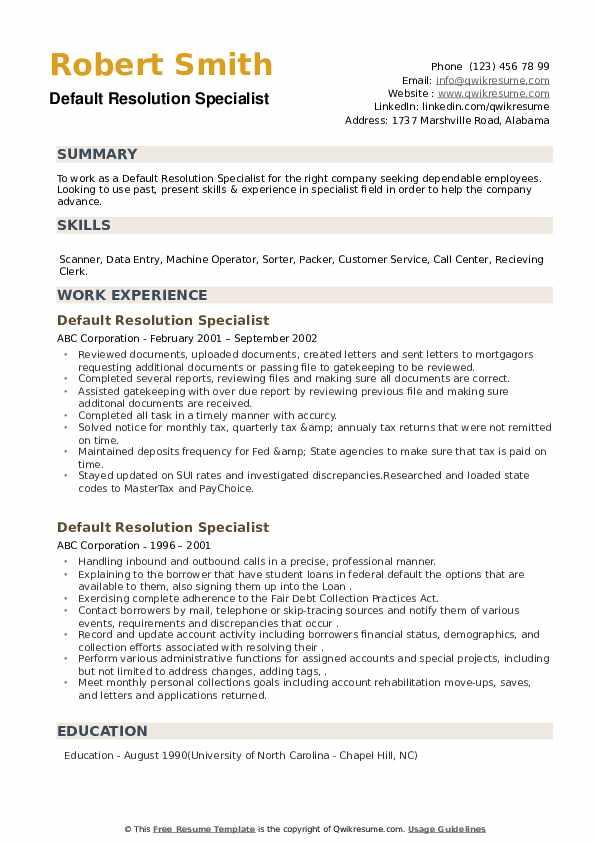 Default Resolution Specialist Resume example
