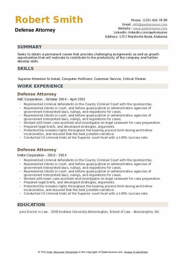 Defense Attorney Resume example