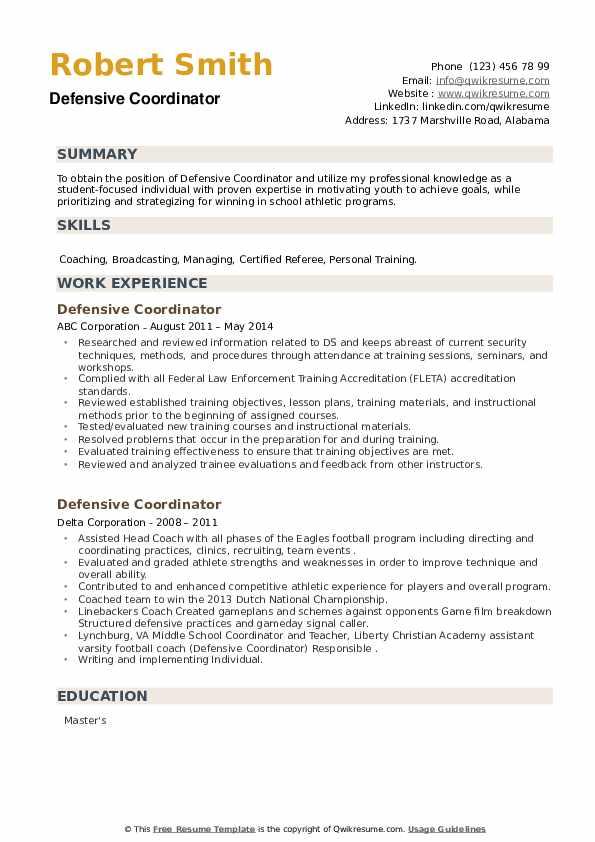 Defensive Coordinator Resume example