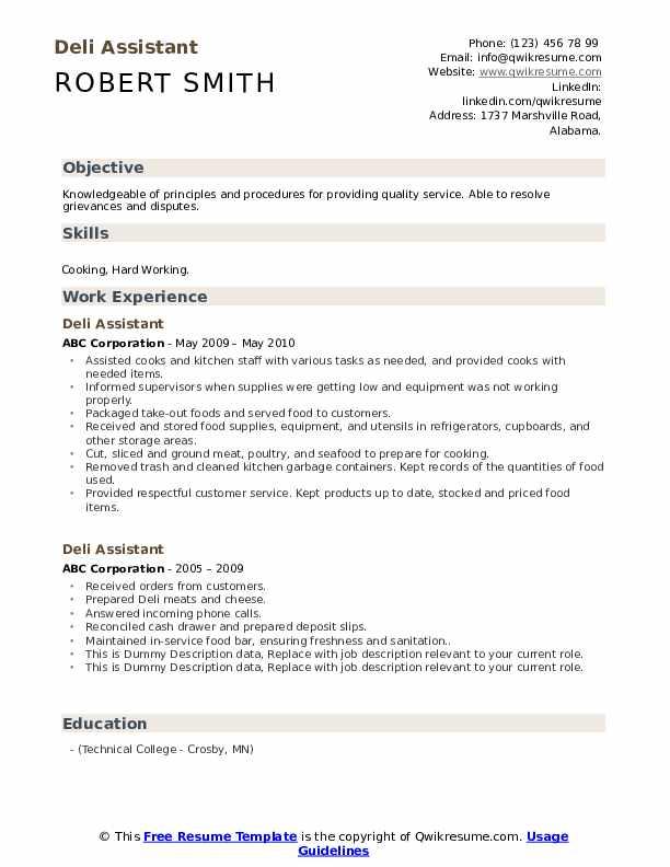 Deli Assistant Resume example