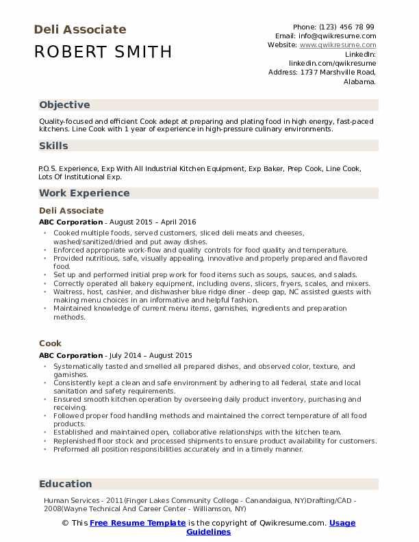 Deli Associate Resume Format