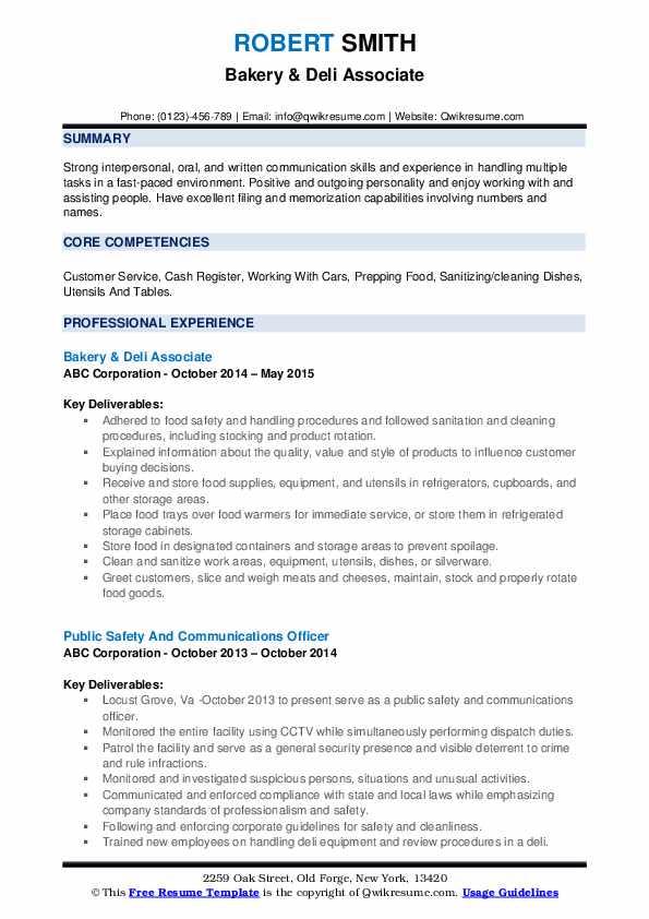 Bakery & Deli Associate Resume Format