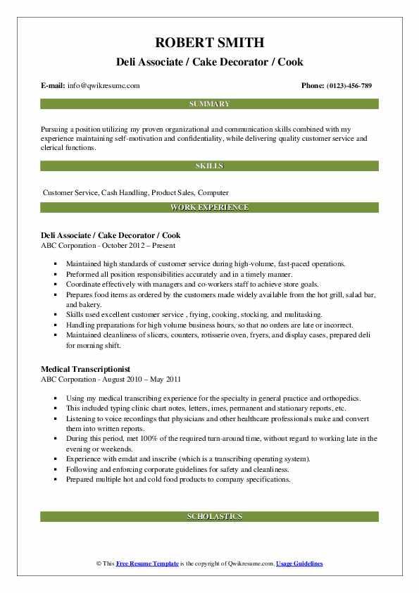 Deli Associate / Cake Decorator / Cook Resume Example