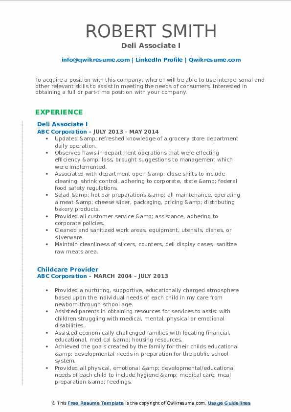 Deli Associate I Resume Format