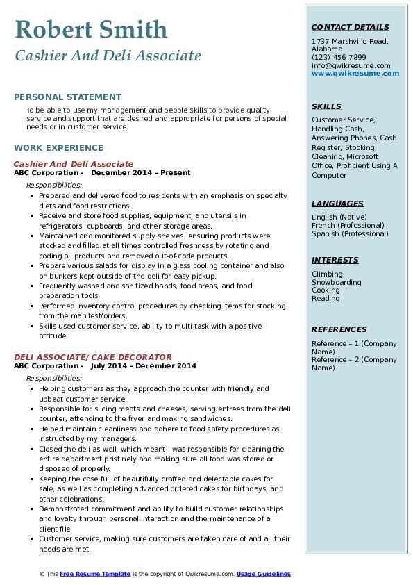 Cashier And Deli Associate Resume Format