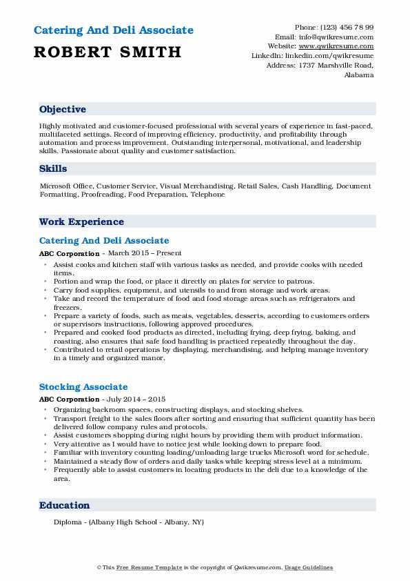 Catering And Deli Associate Resume Example