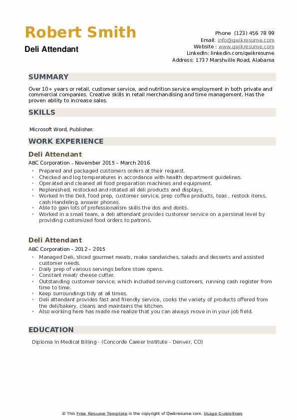Deli Attendant Resume example
