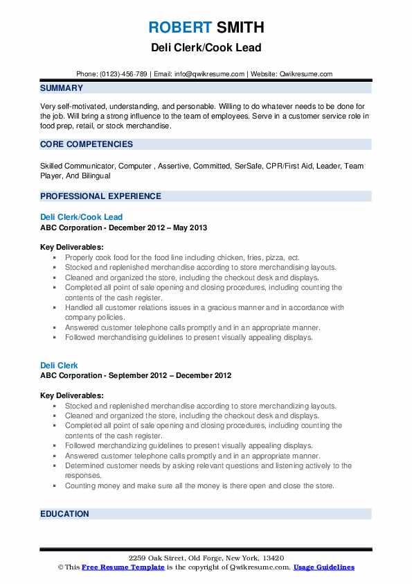Deli Clerk/Cook Lead Resume Template