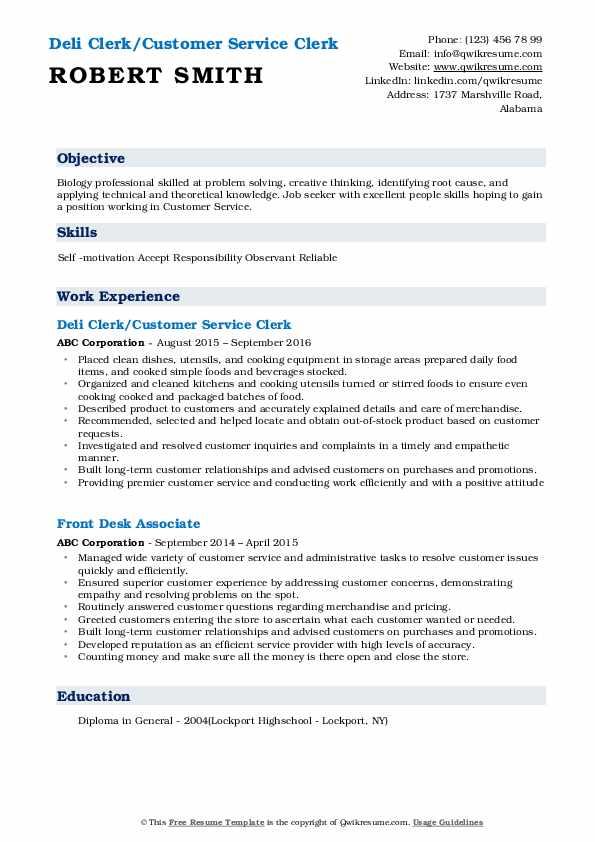 Deli Clerk/Customer Service Clerk Resume Example