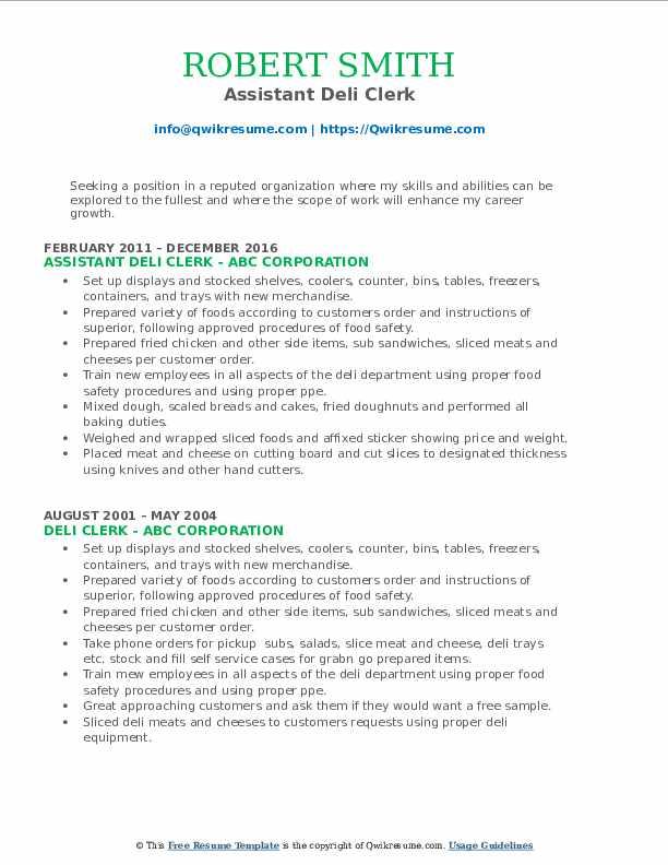 Assistant Deli Clerk Resume Format