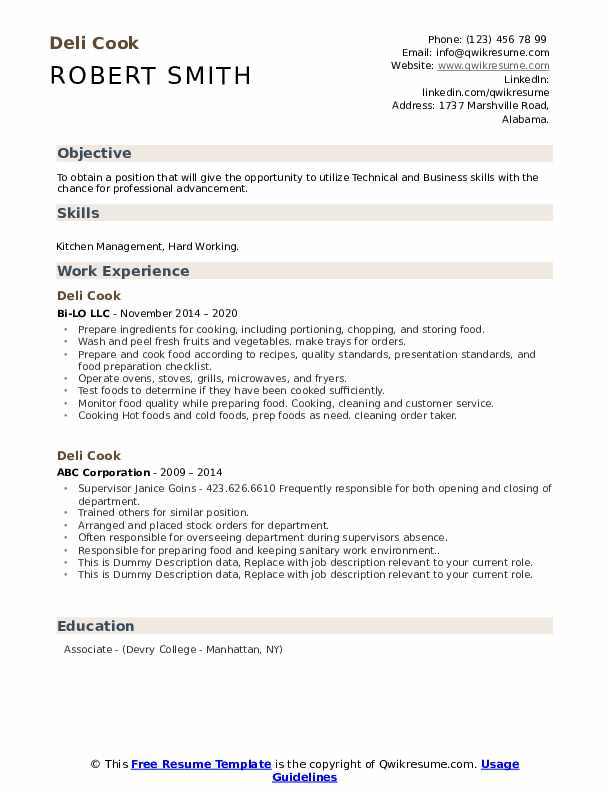 Deli Cook Resume example
