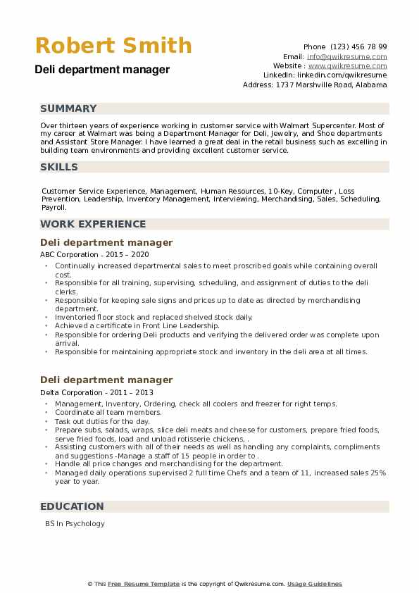 Deli department manager Resume example