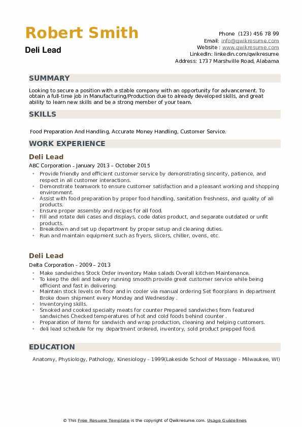 Deli Lead Resume example