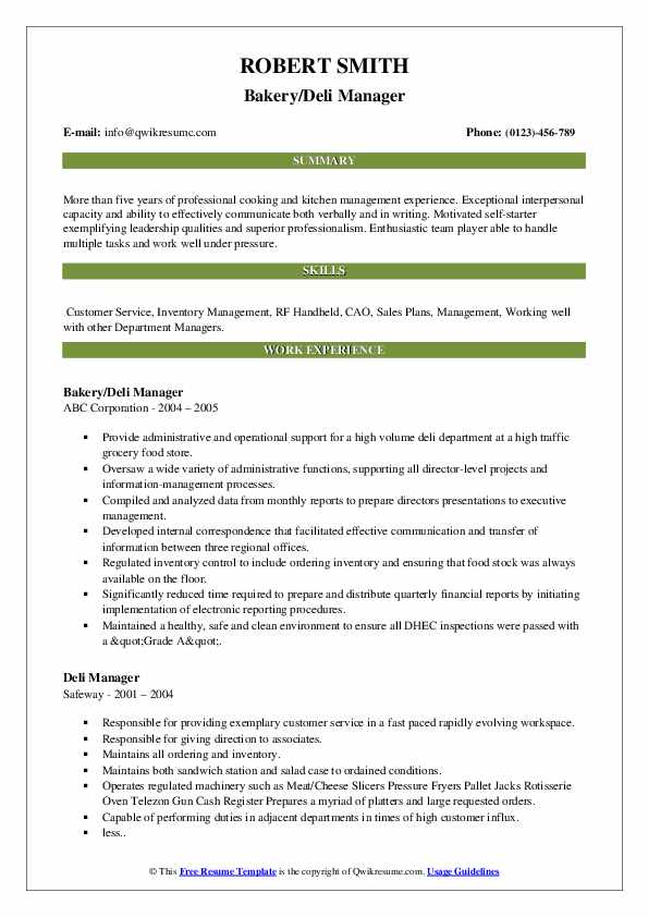 Bakery/Deli Manager Resume Example