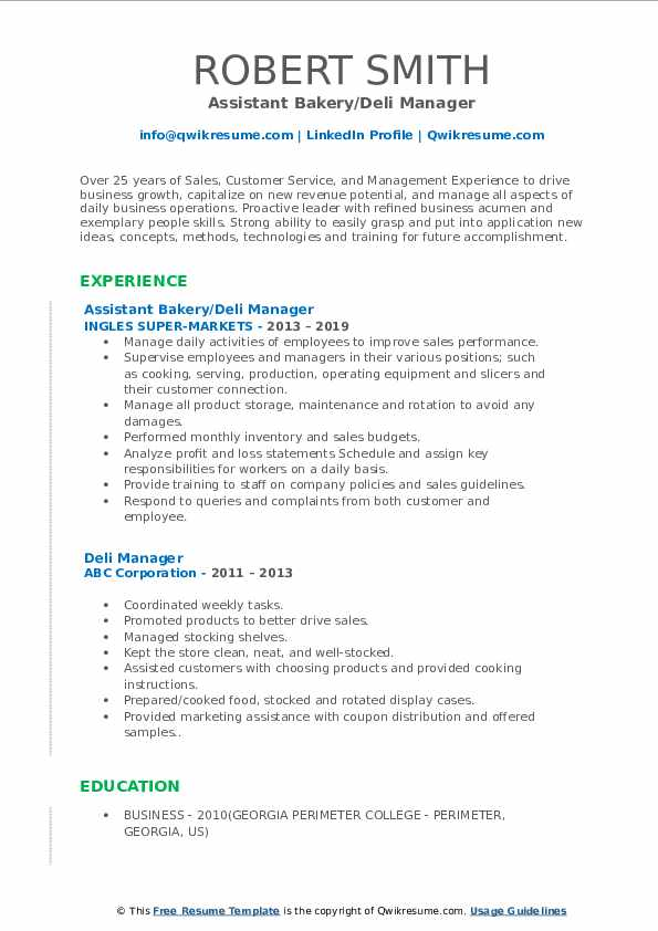 Assistant Bakery/Deli Manager Resume Format