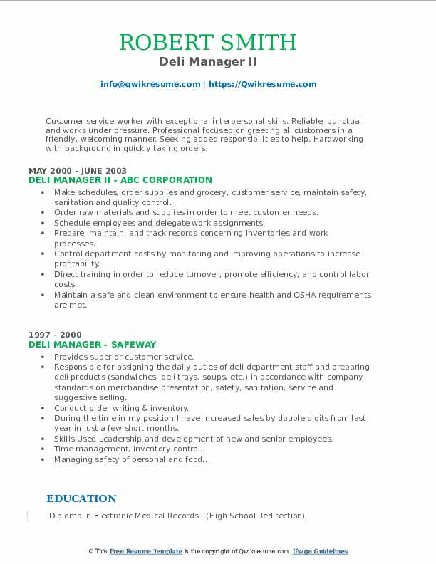 Deli Manager II Resume Template
