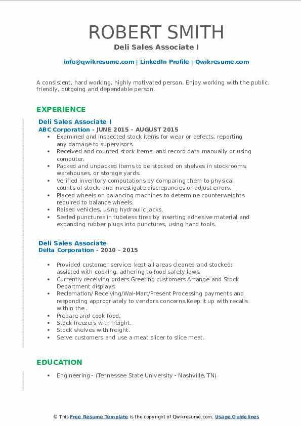 deli sales associate resume samples  qwikresume