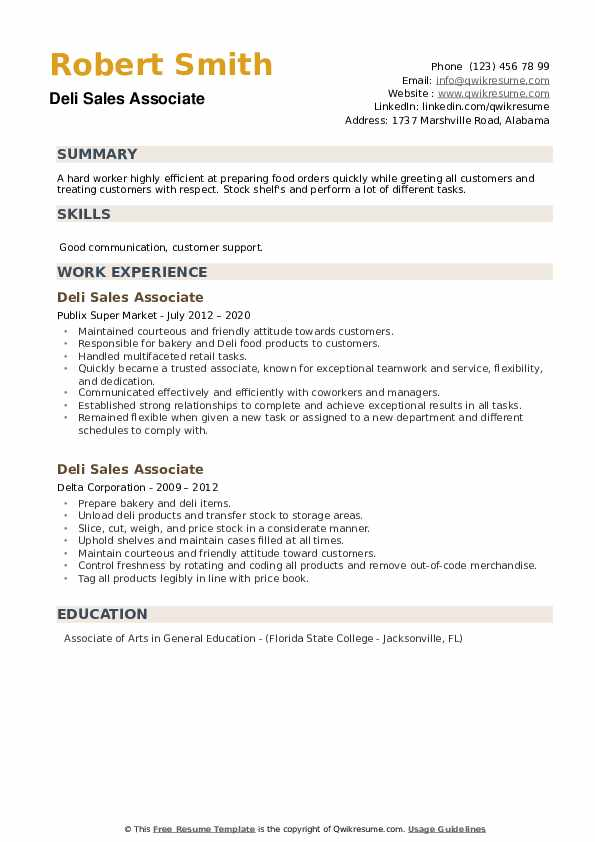 Deli Sales Associate Resume example