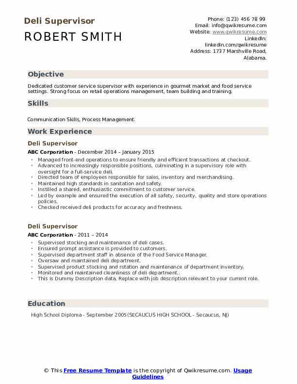 Deli Supervisor Resume example