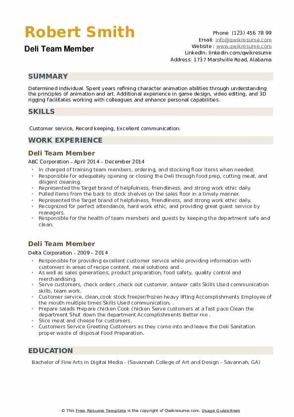 Deli Team Member Resume example