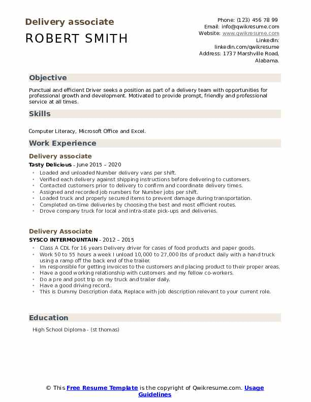 Delivery Associate Resume example