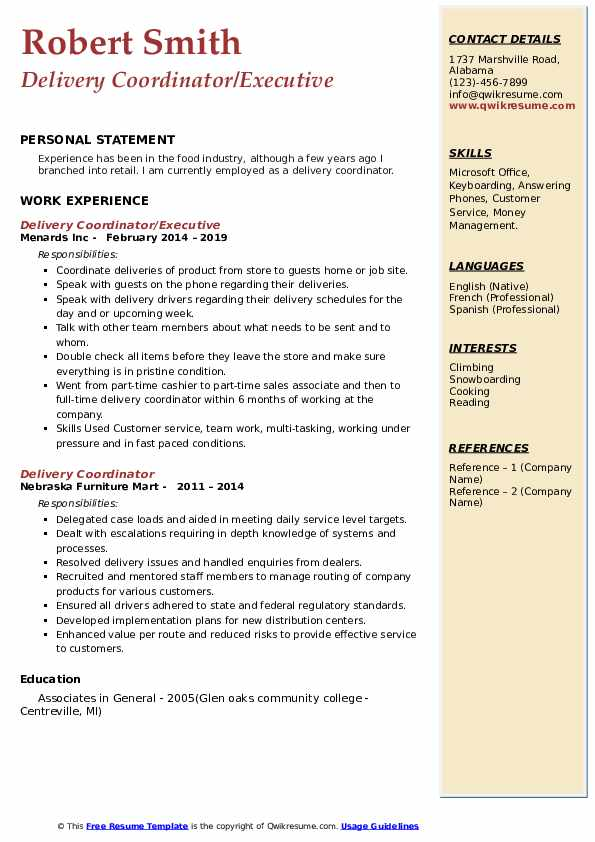 Delivery Coordinator/Executive Resume Example