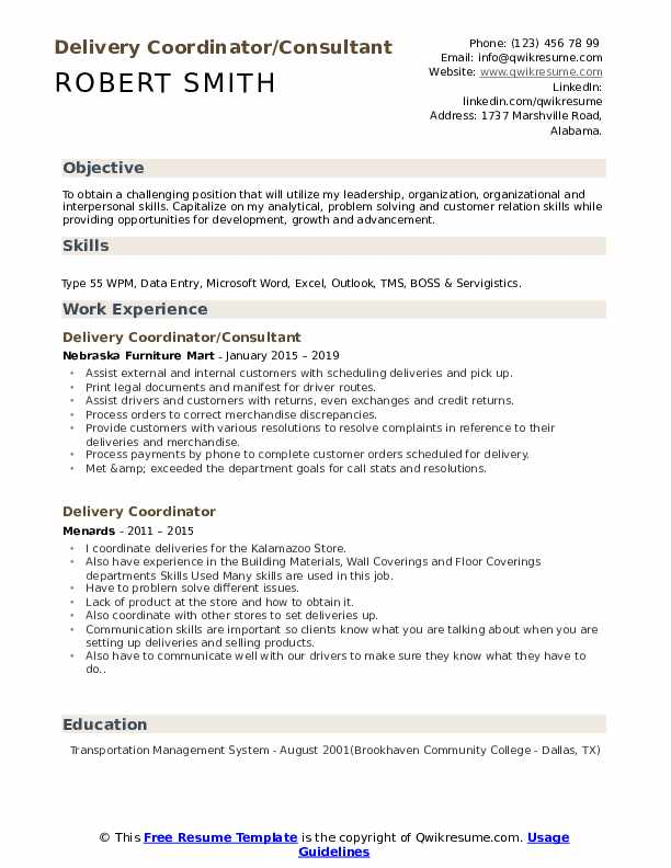 Delivery Coordinator/Consultant Resume Format