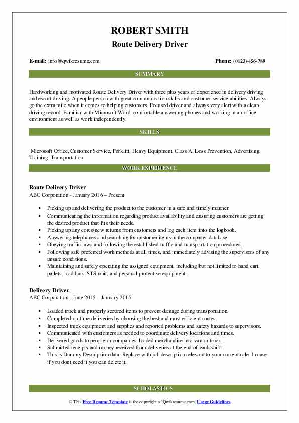 Route Delivery Driver Resume Format