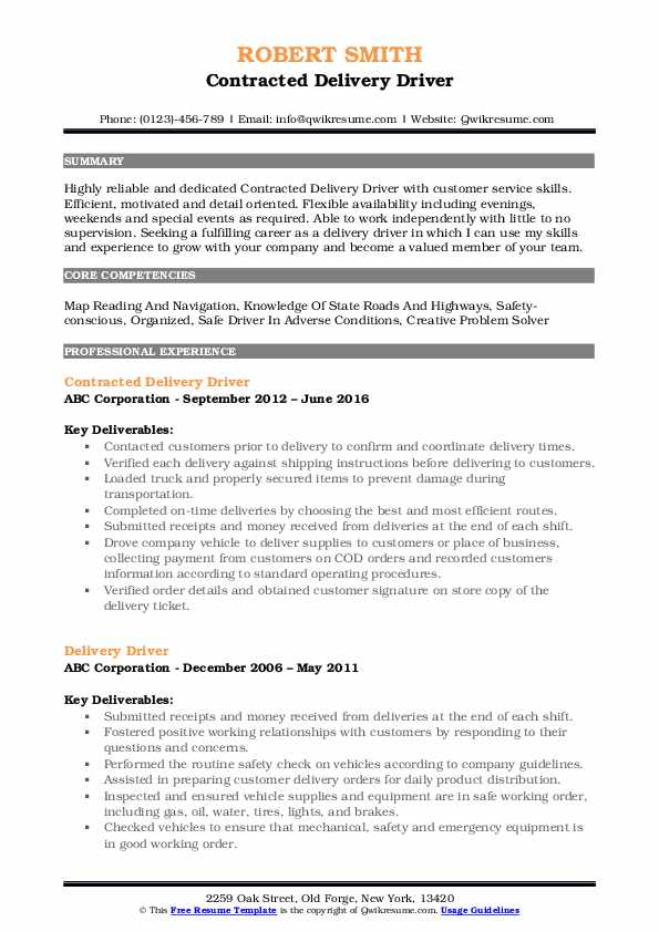 Delivery Driver Resume Samples Qwikresume
