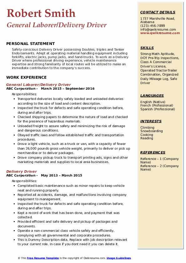 General Laborer/Delivery Driver Resume Model