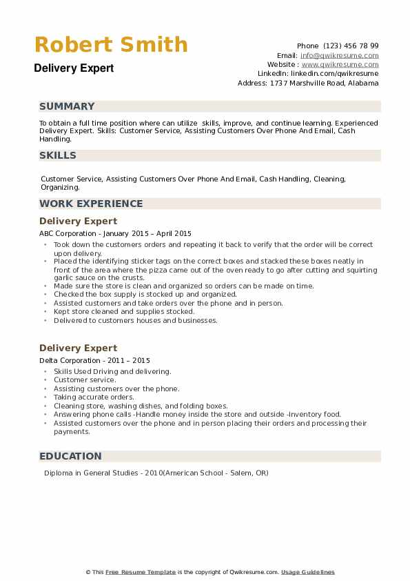 Delivery Expert Resume example