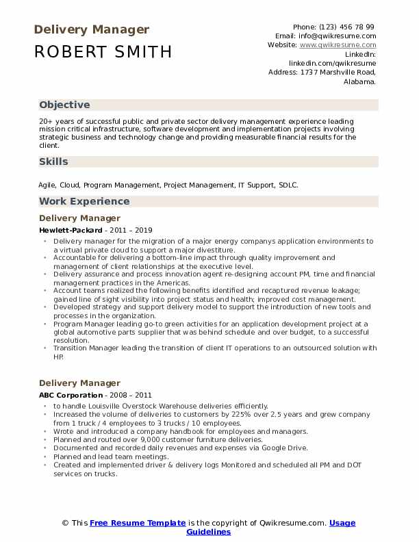 Delivery Manager Resume Format