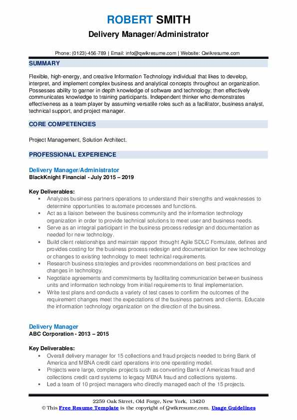 Delivery Manager/Administrator Resume Format