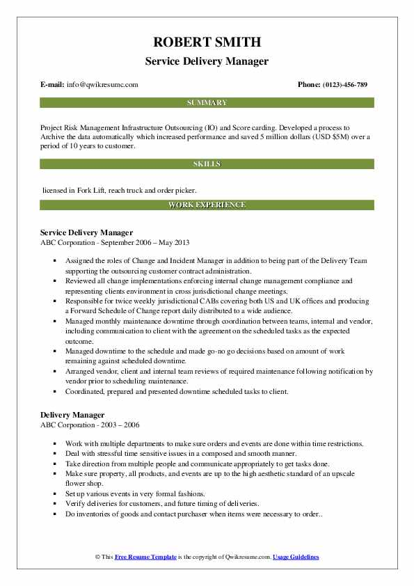 Service Delivery Manager Resume Format