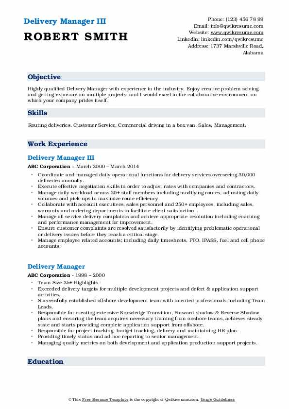 Delivery Manager III Resume Template
