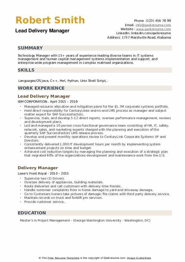 Lead Delivery Manager Resume Model