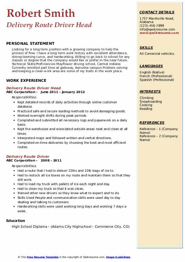 Delivery Route Driver Head Resume Model