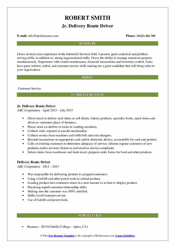 Jr. Delivery Route Driver Resume Sample