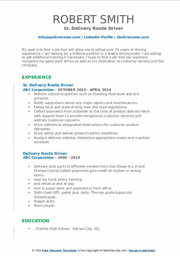 Sr. Delivery Route Driver Resume Example